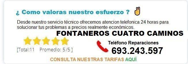 Fontanero Cuatro Caminos precio